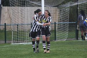 Vicky Gallagher (left) after completing her hat-trick.