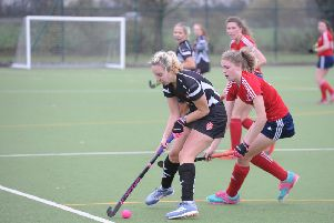 Action from City of Peterborough Ladies 2nds v Bourne Deeping 1sts. Photo David Lowndes.