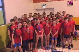 The victorious Deepings Swimming Club squad at the Boston Open Meet.
