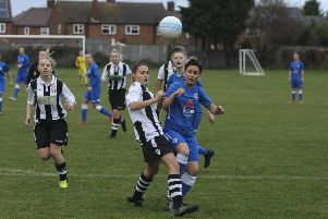 Action from the game betwwen Peterborough United Ladies and Northern Star Reserves.