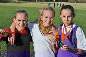 First three in the minor girls race were, from the left, Calleigh Caull, Ruby Blakeley and Jaia Bull.