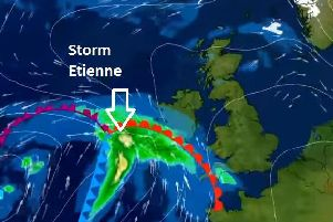Storm Etienne is currently making its way towards Derry and Donegal.