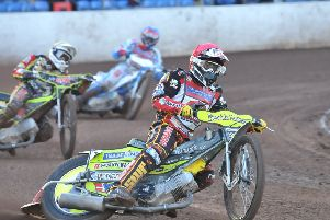 Lasse Bjerre riding for Peterborough Panthers in 2014.