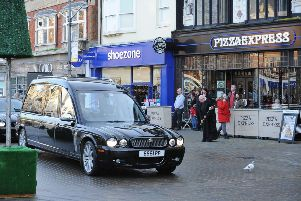 Peter Boziot's funeral procession outside Pizza Express EMN-181217-153829009