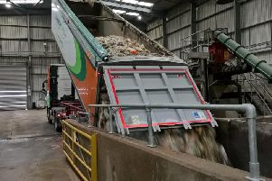 Food waste is deposited at one of Oxfordshire County Councils depots