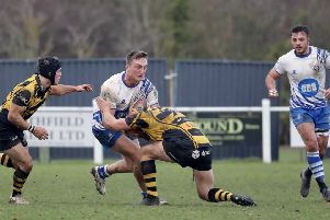 Tom Gulland on the attack for the Lions at Hinckley. Picture: Mick Sutterby