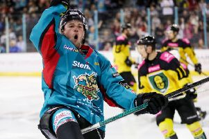 Belfast Giants Darcy Murphy celebrates scoring against GKS Katowice