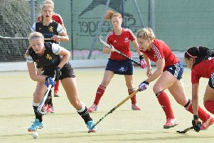 Anna Faux (centre, red) played well for City of Peterborough at Broxbourne.