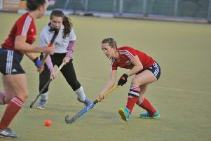 City of Peterborough Ladies seconds (red) in action.