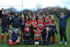 Borough Under 13 girls celebrate.