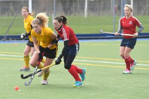 Horncastle Hockey Club, Ladies first team (yellow) v City of Peterborough 3s. Izzy Williams. v City of Peterborough 3s. Izzy Williams