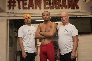 Chris Eubank Jr pictured with Nate Vasquez (left) and Ronnie Davies. Picture by Lawrence Lustig