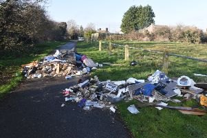 The fly tipped waste