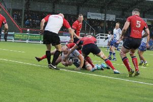 Marius Andrijauskas scores the  Lions try. Picture: Mick Sutterby