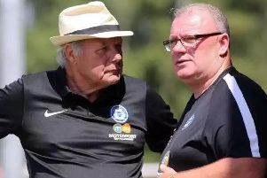 Barry Fry (left) with former Posh manager Steve Evans.