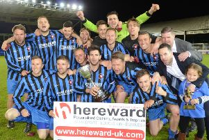 Whittlesey Athletic celebrate their 2016 PFA Senior Cup FInal success at the ABAX STadium.