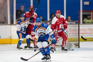 Phantoms captain James Ferrara attempts to block a Swindon shot on goal. �2018 Tom Scott. All rights reserved.