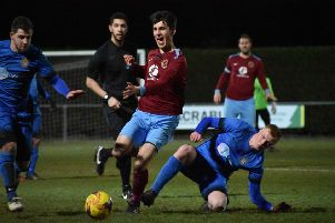 Action from Deeping's win over Desborough (blue) at the Haydon Whitham Stadium. Photo: James Richardson.