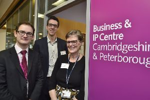 Richard Hunt from Vivacity, Dave Gimson (British Library) and Sue Wills (Cambs County Council library services at the launch of the Business & IP Centre at Central Library EMN-190213-123848009