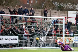 The ball is in the net after Dan Holman scored Kettering Town's third goal in last weekend's 4-1 success at Redditch United. Pictures by Peter Short