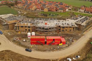 This image taken with a drone shows how works is progressing on the Extra Care complex in Whittlesey.