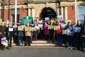 Demonstration against the housing plans outside Bexhill Town Hall