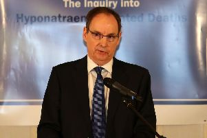 Sir John O'Hara last January, announcing the findings in his hyponatraemia inquiry
