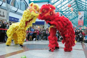 Chinese New Year Celebrations (Year of the Horse).'Priory Meadow Shopping Centre, Hastings, East Sussex.'09.02.14.'Pictures by: TONY COOMBES PHOTOGRAPHY'Lion Dance ENGSUS00120141102082315