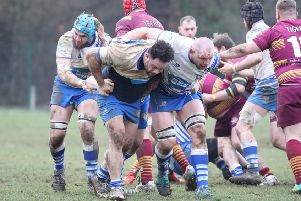 Aki Lea and Marius Andrijauskas drive forward for the Lions against Sedgley Park.  Picture: Mick Sutterby