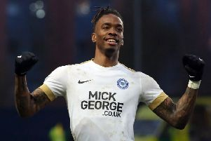 Posh striker Ivan Toney celebrates victory at Oxford. Photo: Joe Dent/theposh.com.