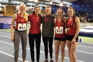 The Birmingham University gold medal winners; left to right: Kate Seary, Emily Thompson, James Gormley, Victoria Weir and Issy Boffey. Photo: George Biggs