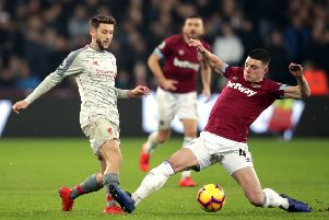 Declan Rice (right) in action for West Ham.