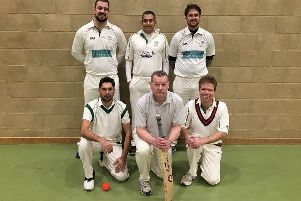 Ufford Park before their defeat to Hook Norton, back row left to right, Joe Harrington, Sandeep Dahiya and Andy Larkin, front, Front row left to right:  Muhammad Zahid Nadeem, Jan Neville (Captain) and Jonathan Bigham.