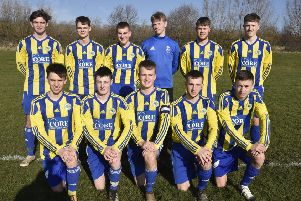 Hempsted Under 18s are pictured before their 4-1 win over Oundle. They are from the left, back, Ben Wright, Jacob Hoffmann, Callum Johnson, Brad Kendall, Sam Wilson, Alfie Armstrong, front, Kieran Hale, Nathan Snart, Charlie Talbot, Callum Pridmore and Josh Evans.