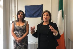Mary Lou McDonald with Elisha McCallion in Derry recently.