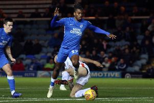 Ivan Toney chases his 20th goal of the season against Shrewsbury.