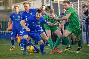 Josh Moreman on the ball for Peterborough Sports in the game against Bromsgrove Sporting. Photo: James Richardson.