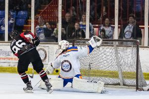 Phantoms netminder Ryan Bainborough saves an MK Thunder penalty shot. Photo:  �2018 Tom Scott. All rights reserved.