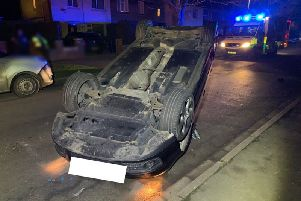 The car which crashed. Photo: Cambridgeshire police