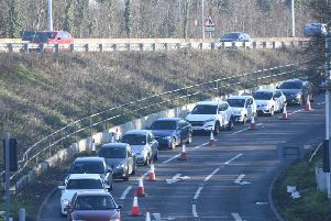 Long delays caused by the closure of two lanes to ensure the safety of the workforce