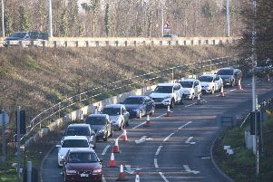 Traffic by Rhubarb Bridge during the current works