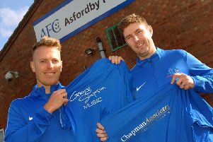 Player-sponsor George Simpson with Asfordby FC player-manager Lee Mann EMN-190226-185005002