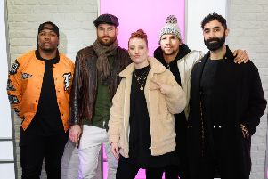Jess Glynne with Rudimental at Kiss FM Studio's. Photo by Leon Neal/Getty Images NNL-190227-104053001
