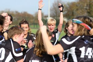 Bourne Deeping Ladies 2nds celebrate their East League title success. Photo: Kate Louise McShane.