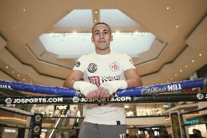 Jordan Gill pictured during a public workout in Queensgate yesterday. Picture:  Mark Robinson/Matchroom