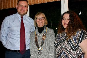 President of the Rotary Club of the Deepings Jenny Spratt, centre, with'head teacher James Husbands and Nicola Hill of Willoughby School