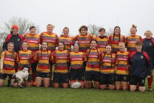 Borough Ladies before the game against Lutterworth. Back row: Jess Robinson, Vicki Gaffney, Kaleigh Wheeler, Melanie Fulcher (C), Jess Wilson, Zoe Wright, Joss Hurcombe, Cat Swayne, Jo Britchford.  Front row: Sarah Winder, Sarah Davey, Nat Elliott, Emma Byatt, Laura Phillips, Michelle Bark, Steph Warlow, Georgie Sheridan, Jennifer Sothmann.