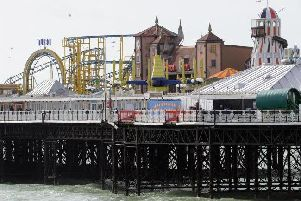 The area on the pier where the forklifts fell from is now sealed off