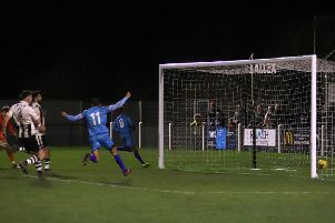 It needed this last-gasp goal to earn Kettering Town a share of the points in the reverse fixture with Coalville Town in January. The two teams meet again at Latimer Park this evening. Picture by Peter Short
