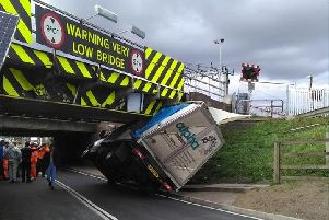 The HGV crashed into Stuntney Bridge in Ely. Photo: SWNS